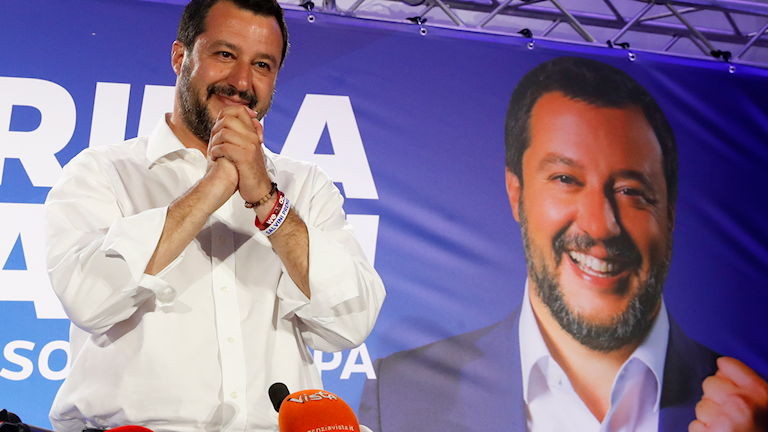 Matteo Salvini efter segern. Foto: Antonio Calanni/TT.