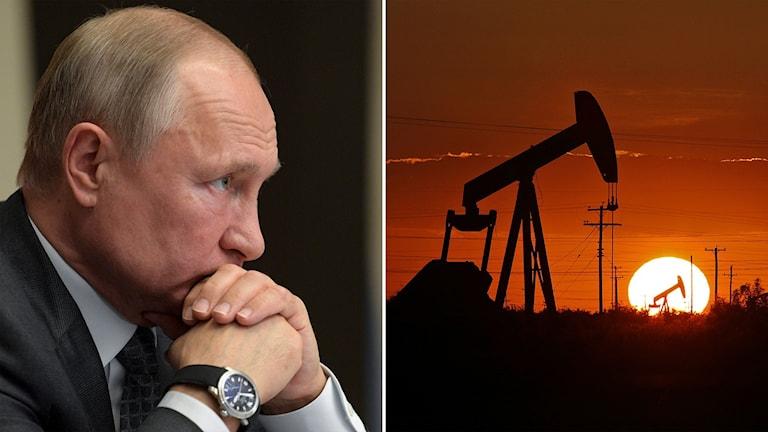 Tvådelad bild: Man tittar åt höger och oljepumpar i solnedgång.