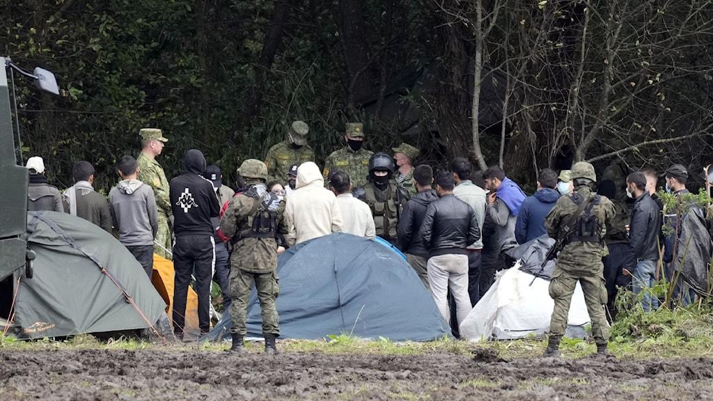 poliser och migranter vid tält och gräsplätt.
