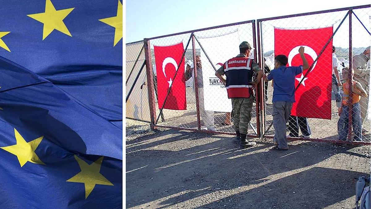 EU flagga Flyktingläger Turkiet