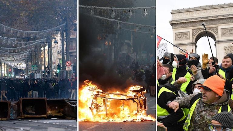 Demonstrationer och en brinnande bil under lördagens protester.