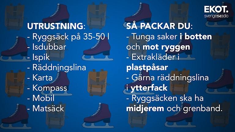 Lista på vad vilken utrustning som behövs och hur du ska packa.