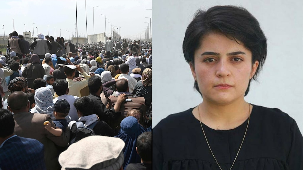 Tvådelad bild med folkmassa vid Afghanistans flygplats och kvinna med kort hår till höger.