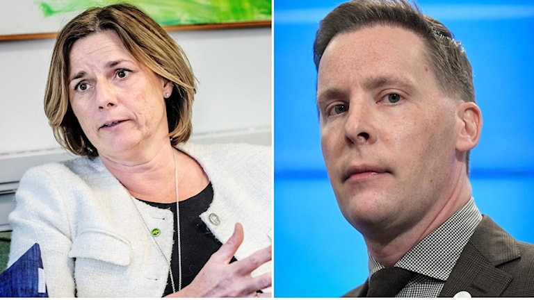 Isabella Lövin (MP) och Moderaternas arbetsmarknadspolitiske talesperson, Mats Green.
