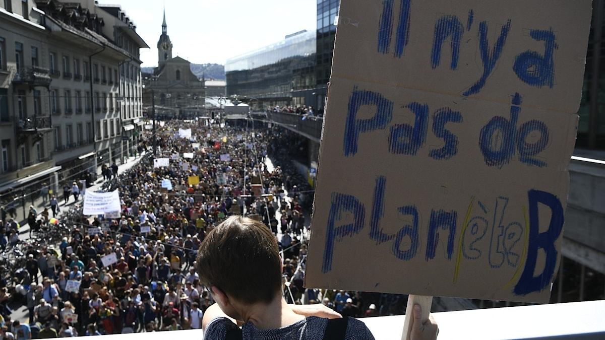 """Demonstranter på en stor gata, i förgrunden en skylt på franska där det står """"Det finns ingen planet B""""."""