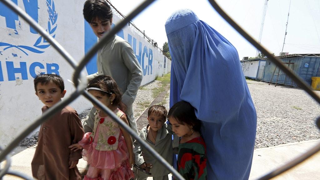 En afghansk familj i ett UNHCR-flyktingläger i Pakistan.
