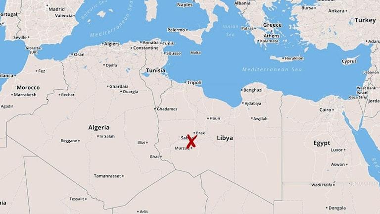 På kartan är Murzuq utmärkt med ett rött kors.