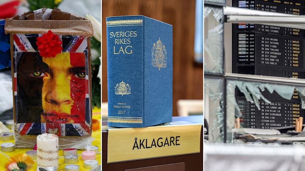 Arkivbild från minnesplats med ljus och foto med belgisk flagga, svenska lagboken på ett bord, krossade fönster på flygplatsen i Bryssel efter attentatet.