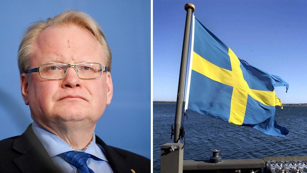 Peter Hultqvist, och en svensk flagga i hamnen i Fårösund.
