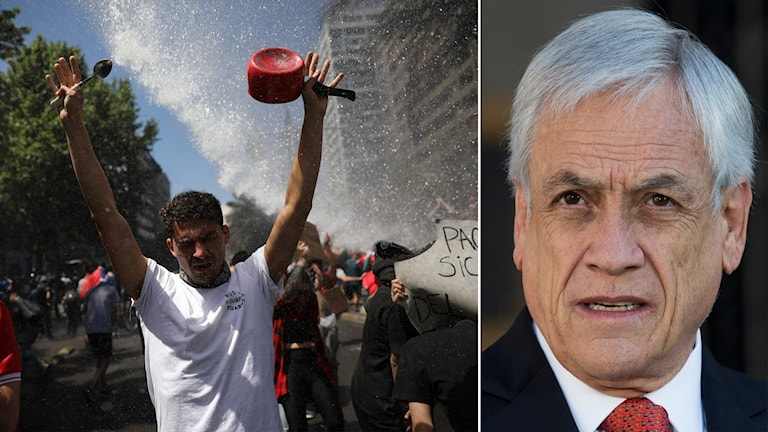 Protester i Chile och bild på Chiles president Sebastian Piñera.