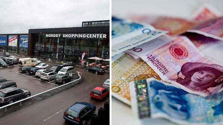 Norsk gränshandel på Nordby shoppingcentrum utanför Strömstad på den svenska västkusten. Norska sedlar ligger på ett bord. Foto: TT. Montage: Sveriges Radio.