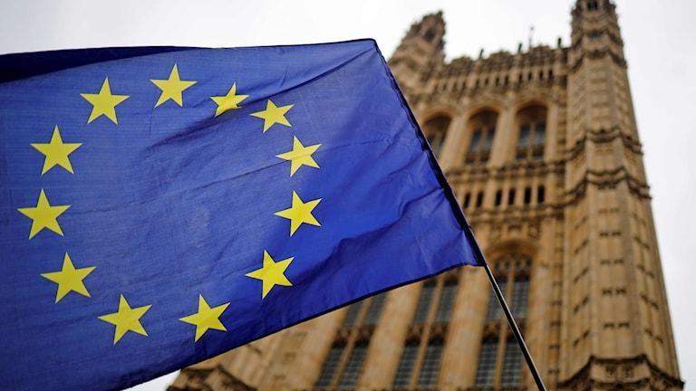 En EU-flagga utanför parlamentsbyggnaden i London.