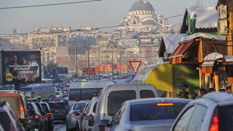 Trafik i den serbiska staden Belgrad.