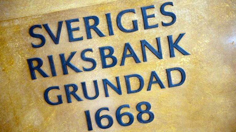 Skylt på Riksbanken.