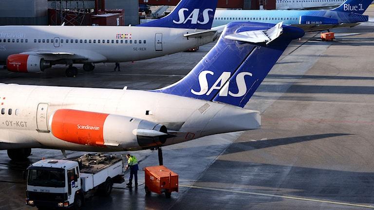 ARLANDA 2012-11-13 Ett av SAS MD-82 flygplan och ett av SAS Boeing 737 flygplan framför en Boeing 717 tillhörande SAS ägda Blue1 på Arlandas Terminal 5. Foto: Johan Nilsson/TT.