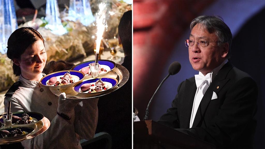 Delad bild: Desserten bärs in på bricka och litteraturpristagare håller tacktal.