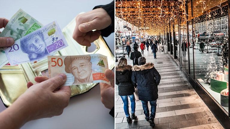 Tvådelad bild: Händer som utväxlar pengar, människor utanför julskyltade skyltfönster.