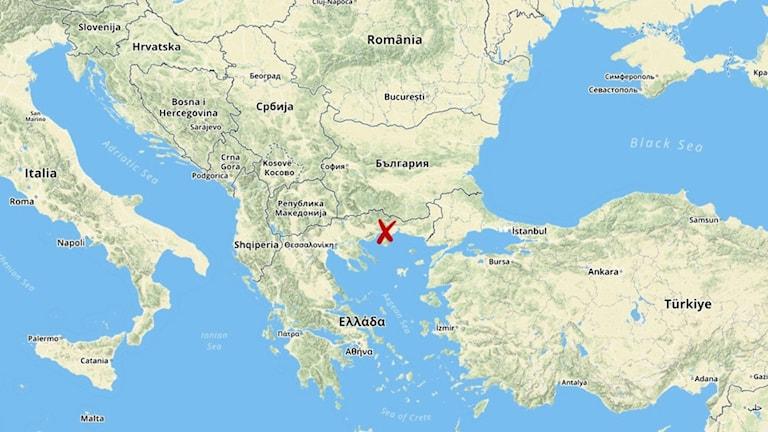 Nära staden Xanthia i norra Grekland hittades migranterna. Karta över området.