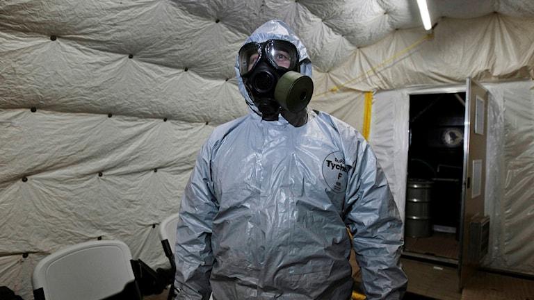 Ryssland har lagt ännu ett veto om utredningen om vem som låg bakom kemgasattacken i Khan Sheikhun i Syrien i april. Arkivbild.  Foto: Alfonso Perez/AP/TT.