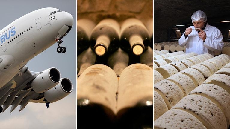 Tredelad bild: Airbusflygplan, vinflaskor i en vinkällare och en fransk osttillverkare.