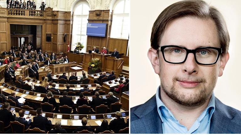 Kollage av danska parlamentet och Simon Emil Ammitzbøll-Bille.