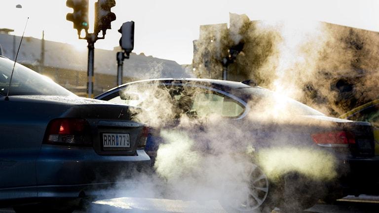 Bilavgaser i vinterväder Foto: Pontus Lundahl/TT.