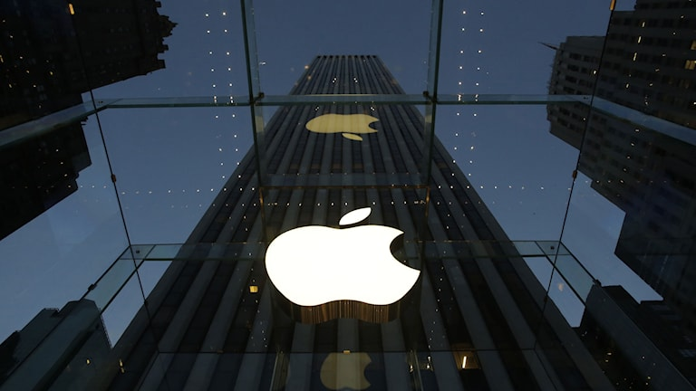 Hus med stor Apple-logga. Foto: Mark Lennihan/TT.