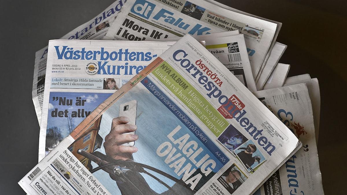 Svenska dagstidningar - lokalpress. Anders Wiklund/TT.