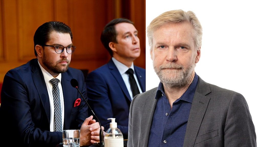 Sverigedemokraternas partiledare Jimmie Åkesson och Tomas Ramberg, Ekots inrikespolitiske kommentator.