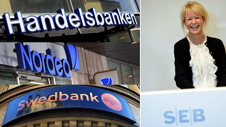 SEB:s vd Annika Falkengren och storbankernas loggor. Foto: Erik Mårtensson/Fredrik Persson/Bertil Enevåg Ericson/Janerik Henriksson//Jonas Ekströmer/TT.