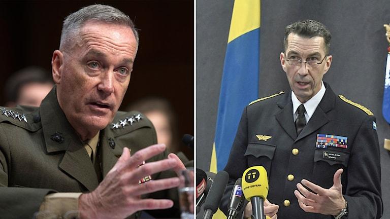 USA:s försvarstabschef Joseph Dunford och överbefälhavare Micael Bydén