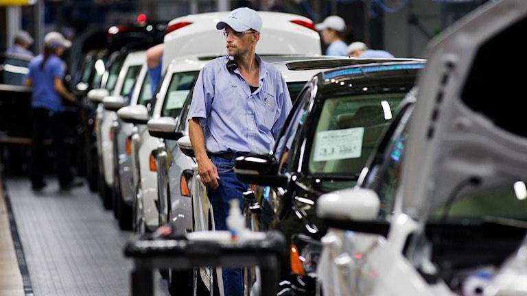 Interiör från Volkswagens fabrik i Chattanooga i USA. Arkivfoto: Erik Schelzig/TT.