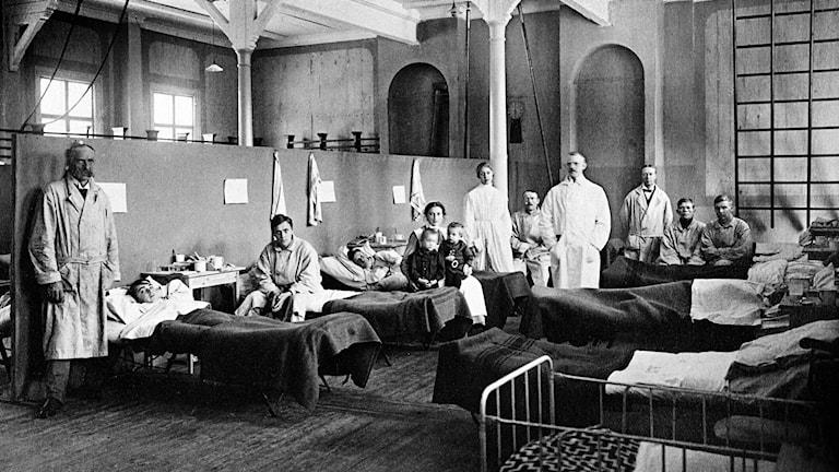 Provisoriskt sjukhus i Östersund 1918.
