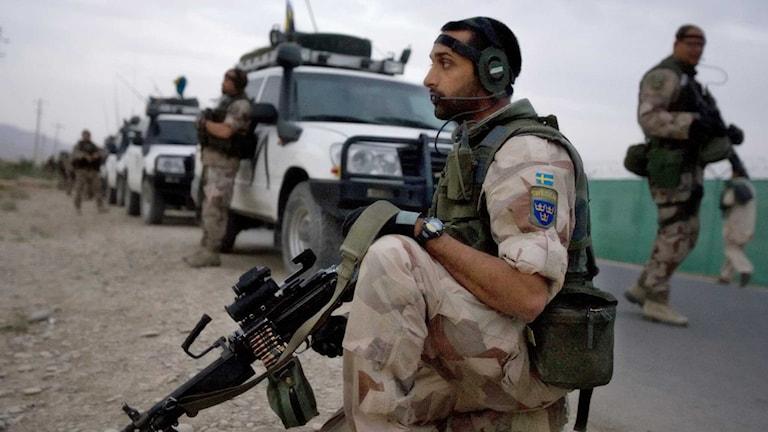 En svensk soldat i Afghanistan. Foto: Alexander Karlsson / TT.