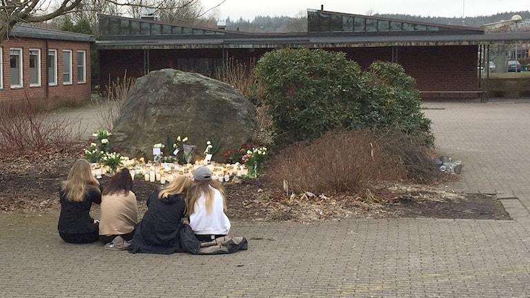 Skolgården på Ängskolan i Skene, där eleverna som åkte med bussen gick.