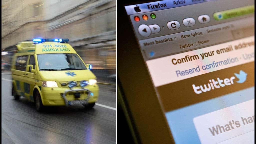 En ambulans och en datorskärm. Foto: TT. Montage: Sveriges Radio