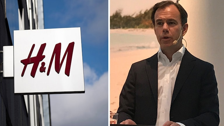 H&M, vd:n Karl-Johan Persson på pressträffen. Foto:Henrik Montgomery/TT/Stima Ollila/TT. Montage. Sveriges Radio.