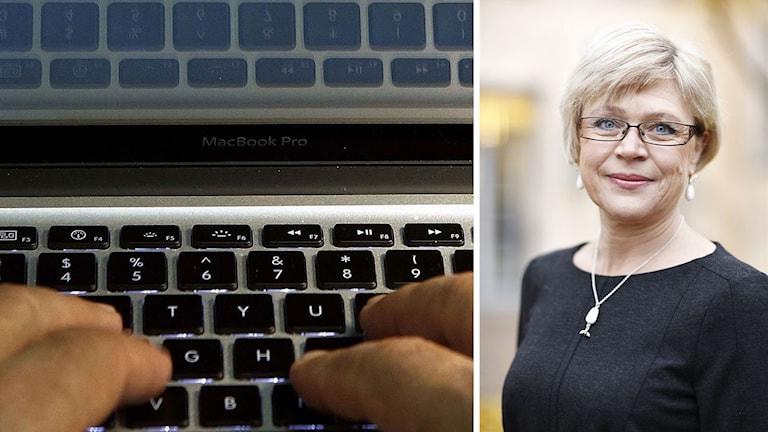 Tangentbord till vänster, kortklippt kvinna med glasögon till höger.
