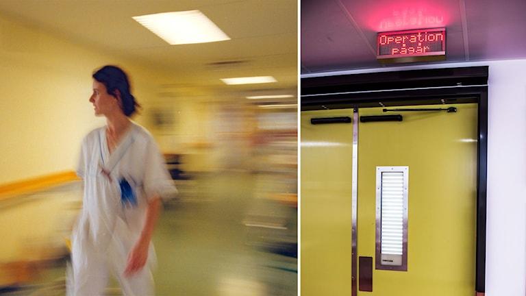 """Bildmontage av en sjuksköterska och en skylt där det står """"Operation pågår""""."""