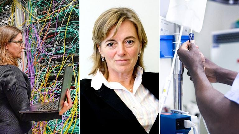 Tredelad bild: En datatekniker i ett serverrum, en kvinna mot vit bakgrund och en sjuksköterska som ordnar ett dropp.