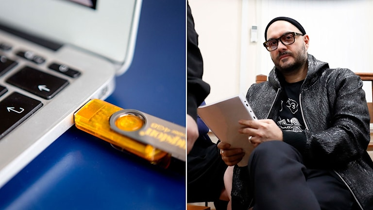 Den ryske teater och filmregissören Kirill Serebrennikov. Till vänster ett USB-minne.