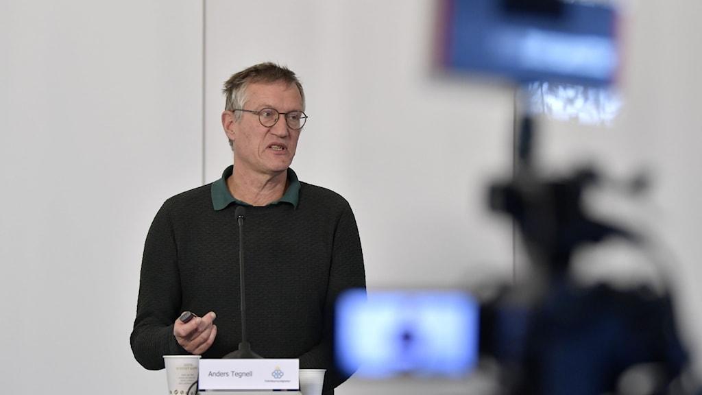 Statsepidemiolog Anders Tegnell under onsdagens presskonferens.
