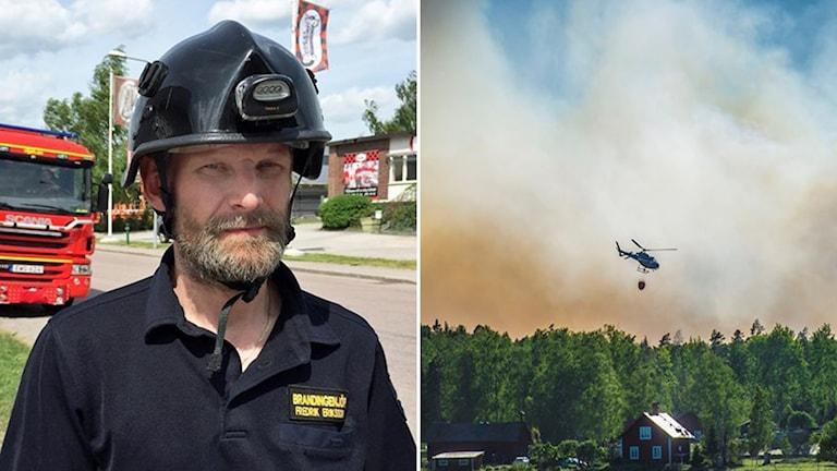 Brandingenjör Fredrik Eriksson och en helikopter som vattenbombar en gård.