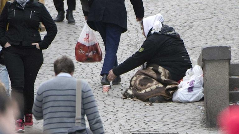 En tiggare i Stockholm. Foto: Fredrik Sandberg/TT