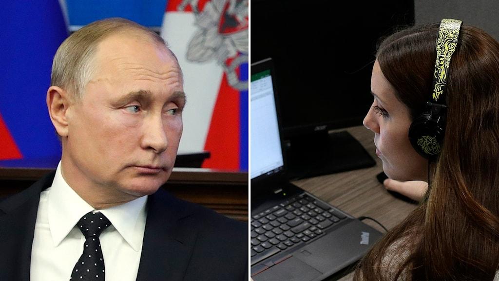Två bilder, Putin som tittar åt en kvinna som sitter vid en dator.