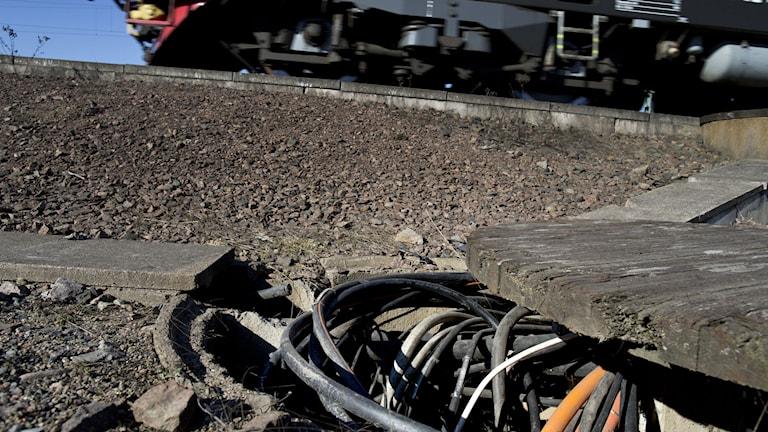 2013 stals 65 kilo kopparledning vid Olskroken i Göteborg. Alla tåg som passerade påverkades av sabotaget. Arkivfoto: Björn Larsson Rosvall/TT.