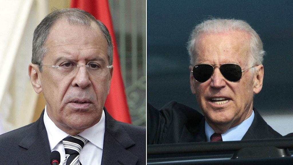 Rysslands utrikesminister Sergej Lavrov och den amerikanske vice presidenten Joe Biden. Foto: TT. Montage: Sveriges Radio.