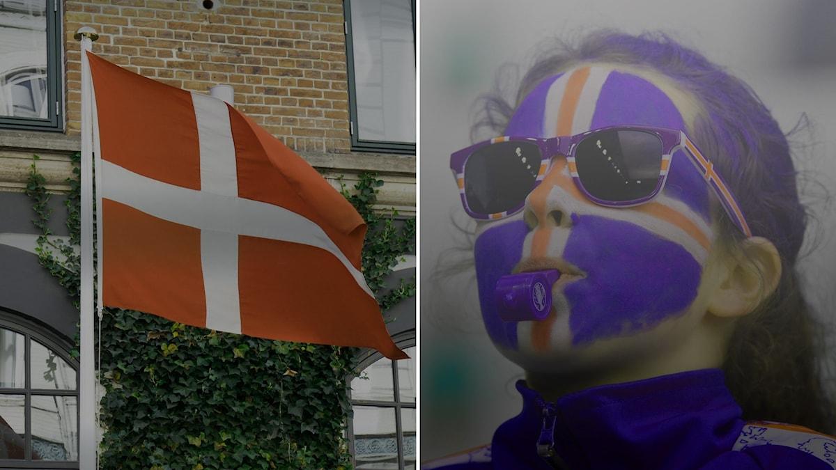 dansk flagga ch isländsk supporter - gråtonade