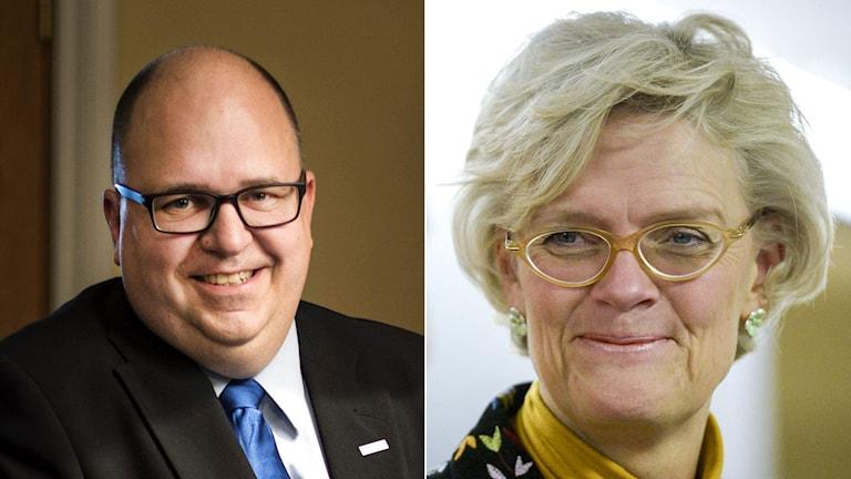 LO:s ordförande Karl Petter Thorwaldsson och Svenskt Näringslivs vd Carola Lemne. Foto: TT. Montage: Sveriges Radio.