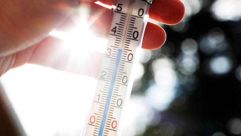 Termometer som visar 34 grader.